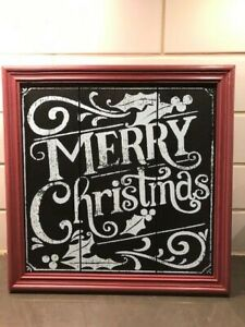 NEW Pottery Barn MERRY CHRISTMAS Chalkboard Pine Wood Wall Sign