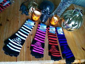 Halloween Emo Long Fingerless Magic Gloves Black Stripe With Skulls Bnwt Pirate