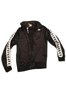 Black Kappa Zip Up Jacket Mens Size Small Multi Logo Track Suit Small Rip