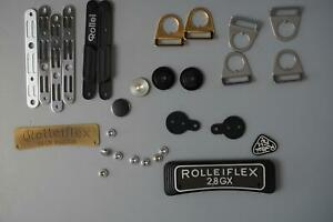 Rolleiflex TLR parts, 2.8GX nameplate, various strap lugs + extras