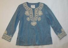 ZARA WOMAN WOMENS BLOUSE BLUE JEAN WHITE EMBROIDERED TUNIC V NECK SIZE SMALL