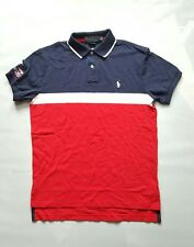 POLO RALPH LAUREN SMALL PONY RED-STRIPE CUSTOM FIT MEN POLO SHIRT 2013 US OPEN-M
