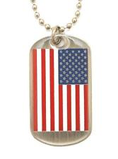 USA Flag -  DOG TAG NECKLACE & Chain - NEW - N-2111