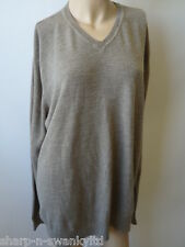 Mens Brown V Neck Jumper Sweater Top Size XL