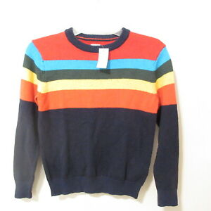 Gap Kids Boys Blue Crazy Colors Striped Wool Blend Sweater Size M 8-9 NWT