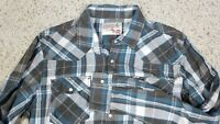 JNCO 85 Crown Brand Men's Pearl Snap Blue Plaid Skater Shirt Size 2XL XXL