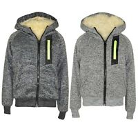 Boys Kids Neon Zip Full Inside Fur Fleece Bomber Hooded Jacket Coat Hoodie Sweat