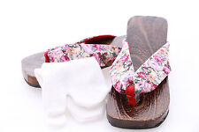 K-G-01 rot Blumen Geta Japan Holz Sandale Tabi Socken Kimono Geisha 24,5cm/Gr 38