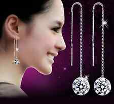 925 Silver Natural Zircon Crystal Ear Line Earrings Women Fashion Jewelry
