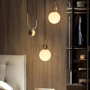 Modern Single Mini White Glass Globe Golden Adjustable Ceiling Pendant Lights