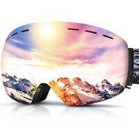 [Wider View]Mens Women Snowbord Goggles Over Glasses OTG Anti-Fog Skiing Goggles
