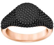 Swarovski 5412010 Stone Signet Ring, Rose Gold Plating, Black, Size 52 RRP $219