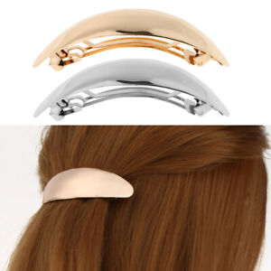 Shiny Gold Silver Curved Oval French Barrette Clasp for Thick Hair