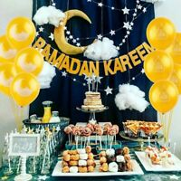 RAMADAN KAREEM Glitter Gold Paper Banner Balloons Party Decor Set EID MUBARAK UK