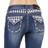 Grace in LA Women's Plaid Yoke Embellished Embroidered Flap Pocket Bootcut Jeans