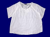 Damenbluse Bluse Tunika Überwurf transparent weiß Gr. L -XXL NEU