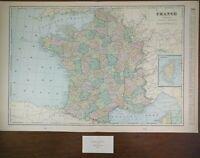 """FRANCE 1900 Vintage World Atlas Map 22""""x14"""" Old Antique DIJON EIFFEL TOWER PARIS"""