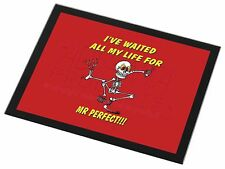 'Waiting for Mr Perfect' Black Rim Glass Placemat Animal Table Gift, FUN-15GP