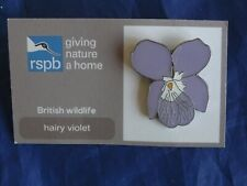 RSPB GNaH hairy violet Metal Pin Badge on FR Card