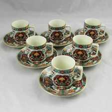 Set of 6 Japanese Hand Painted Imari Demitasse Espresso Cups & Saucers Mint