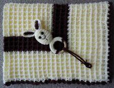 Handmade Crochet Baby Coperta Waffle Crema, cioccolato 72CM x 98CM