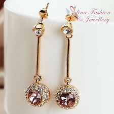 18K Rose Gold GF Made With Swarovski Element Baby Pink Round Strip Drop Earrings