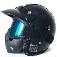 1pc XL Flat Black Harley Motorcycle Helmet Vintage Leather Handmade w/ Face Mask