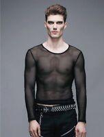 New Gothic Devil Fashion Men Net Shirt Black Transparent rock punk Top Steampunk