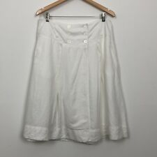 SUSSAN Womens White 100% Linen A-Line Button Pockets Casual Summer Skirt Size 12