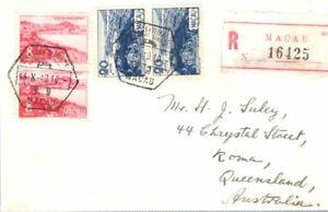 Macau 1949 Reg letter to Australia used