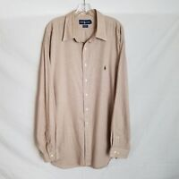 Polo Ralph Lauren Mens Beige Brown Plaid Button Front Shirt SZ 18 36/37 2XL P202
