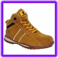 MENS HI TOP  SAFETY STEEL TOE CAP WORK  TRAINER SHOE ANKLE  BOOTS SIZE 3 TO 14