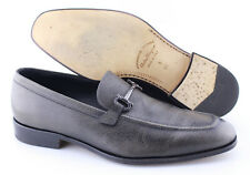 Men's SALVATORE FERRAGAMO 'Fenice' Antracite Leather Loafers Size US 9 - EE