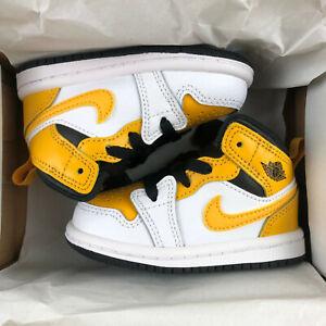 Nike Air Jordan 1 Mid TD Shoes University Gold 640735-170 Toddler Baby Size 4C