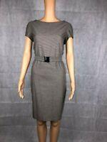 Women's Zara Brown Belted Houndstooth Workwear Pencil Dress - Size EUR Large