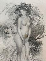 Abel Faivre Gravure lithographie Étude De Femme Nu Féminin Baigneuse