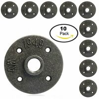 10 Pcs 1/2'' Black Malleable Threaded Floor Flange Iron Pipe Fittings Wall Mount
