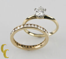 tiffany co vintage 18k gold plat wedding ring set w coa sz 55 tdw 121 - Tiffany Wedding Ring