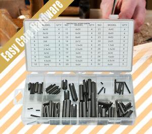120 pcs Roll Pin Assortment Set Steel Split Tension Dowel Grab Kit with Case AU