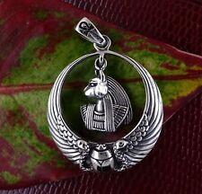 Egyptian Bastet Cat Goddess Ankh Scarab Wings Pendant Silver 925 Gift For Her