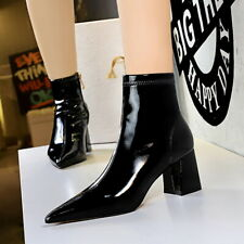 Women Ankle Boots Patent Leather Pointed Toe Block Heel Side Zip Dress Shoes