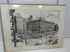 VINTAGE HAND DRAWN ARTIST PICTURE SIGNED MARTIN LINSEY CLEVELAND 9TH  & PROSPECT