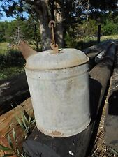 Antique Original Old Galvanized Round Metal Motor Oil Can With Spout Farm BArn