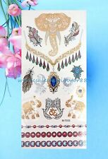 US SELLER- fake tattoo set lucky elephant hamsa metallic flash temporary tattoo