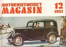 Motorhistoriskt Magasin Swedish Car Magazine 12 1981 Tala Road 040317nonDBE