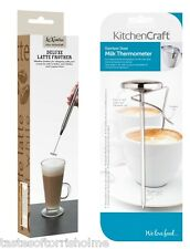 Kitchen Craft Stainless Steel Cappuccino Milk Frother Latte Whisk & Thermometer