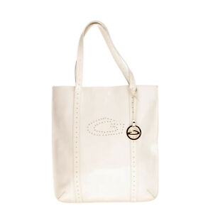 ALBERTO GUARDIANI Tote Bag Large Coated Faux Leather Openwork Logo Made in Italy