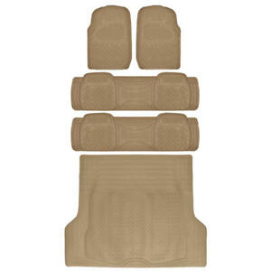 Car Floor Mat for 3 Row SUV Beige Extra Heavy Duty Trimmable Fit w/ Trunk Mat