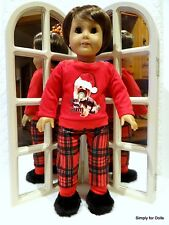 """3pc CHRISTMAS Boy's PUPPY DOLL PAJAMAS SET fits 18"""" AMERICAN GIRL Doll Clothes"""