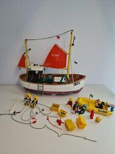 Playmobil 3551 Fischkutter Fischerboot Rarität selten mit Taucher + Schlauchboot